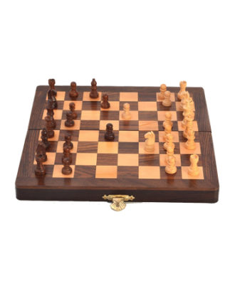 Little India Designer Wooden Chess Board Handicraft Gift (115, Brown)