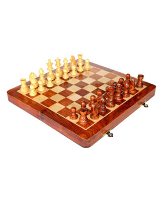 "Stonkraft 10"" X 10″ Collectible Wooden Folding Chess Game Board Set+Wooden Magnetic Crafted Pieces"
