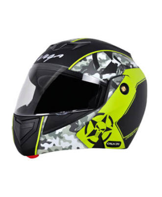 CRUX DX CAMOUFLAGE DULL BLACK NEON YELLOW HELMET