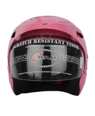 Replay-Essex-Wave-Plain-Open-Face-Helmet-with-Clear-Visor-Pink